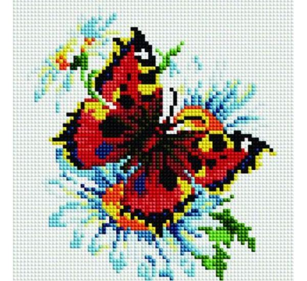 Алмазная мозаика BF255  Бабочка на цветке 20X20