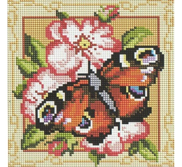 Алмазная мозаика BF441 Бабочка в рамке 20X20