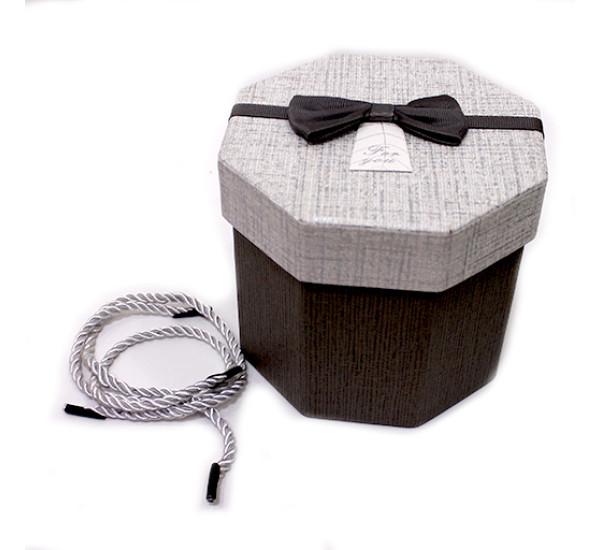 Подарочная коробка 8 стороняя 11,5Х13см серая