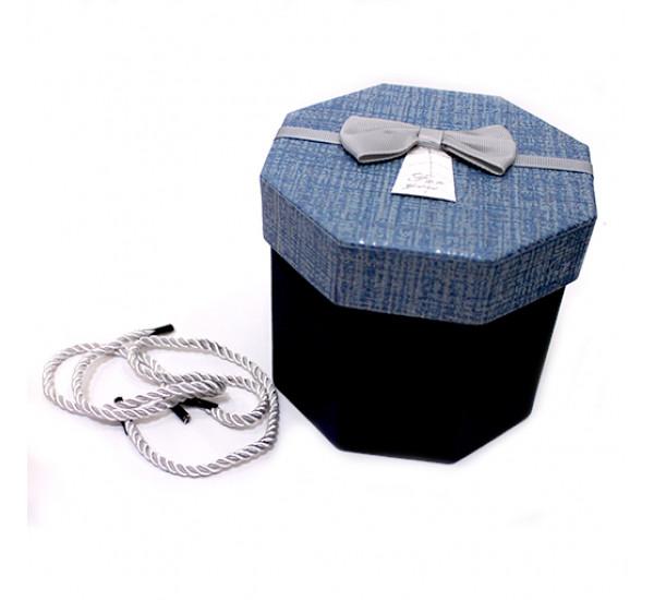 Подарочная коробка 8 стороняя 11,5Х13см синяя