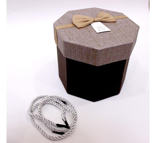 Подарочная коробка 8 стороняя 11,5Х13см коричневая