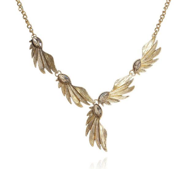"""Колье """"Полет"""" крыло, цвет светло-коричневый в черненом золоте"""