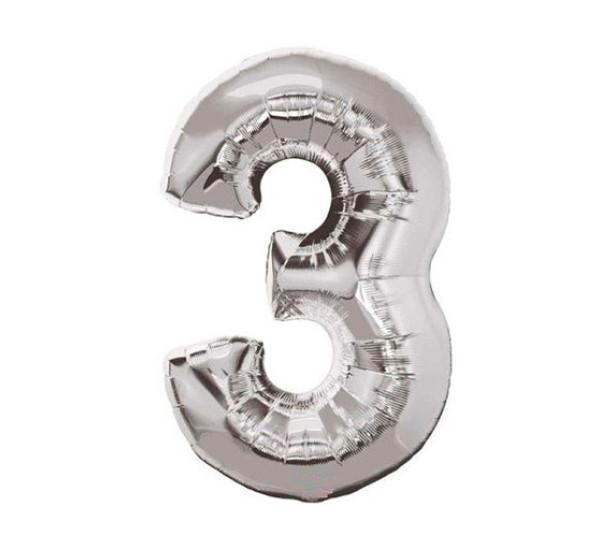 Шар фольгированный №3 серебряный 45 см