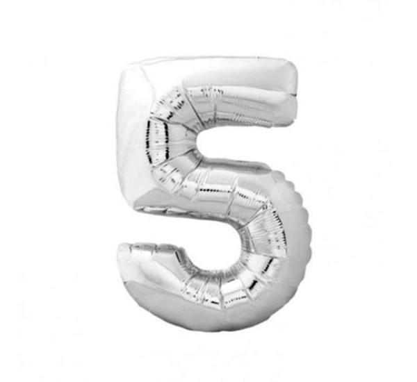 Шар фольгированный №5 серебряный 45 см