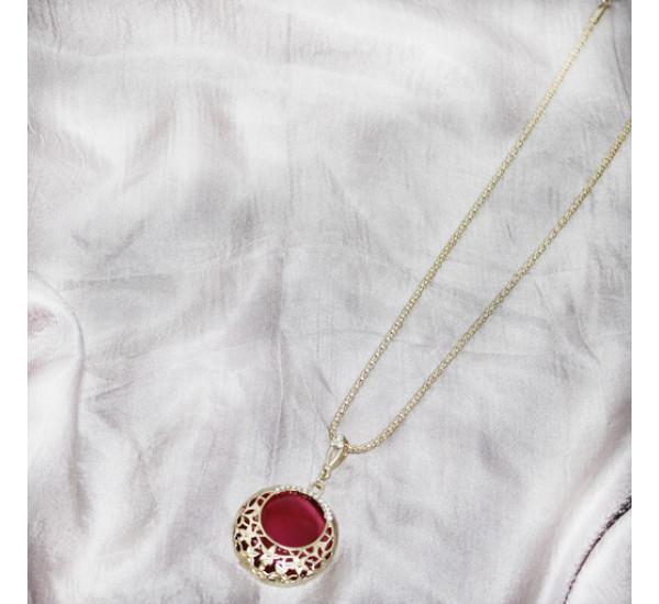 Кулон круг, цвет розовый, в золоте, 27 см.