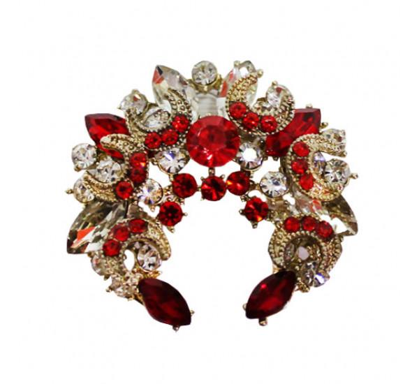 """Брошь """"Fashion"""" в форме полумесяца, цвет ярко-красный, в золотистой оправе"""