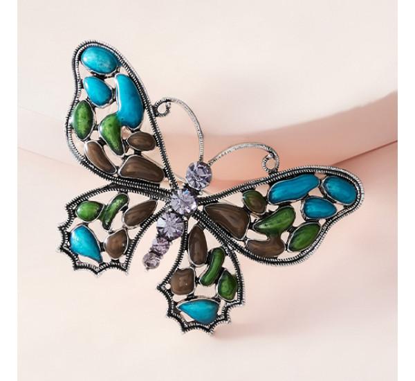 """Брошь """"Fashion"""" в форме бабочки, сочетание синего, зелёного и оранжевого, в серебре"""