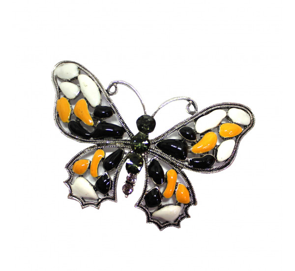 """Брошь """"Fashion"""" в форме бабочки, сочетание белого, чёрного и песочно-коричневого, в серебре"""