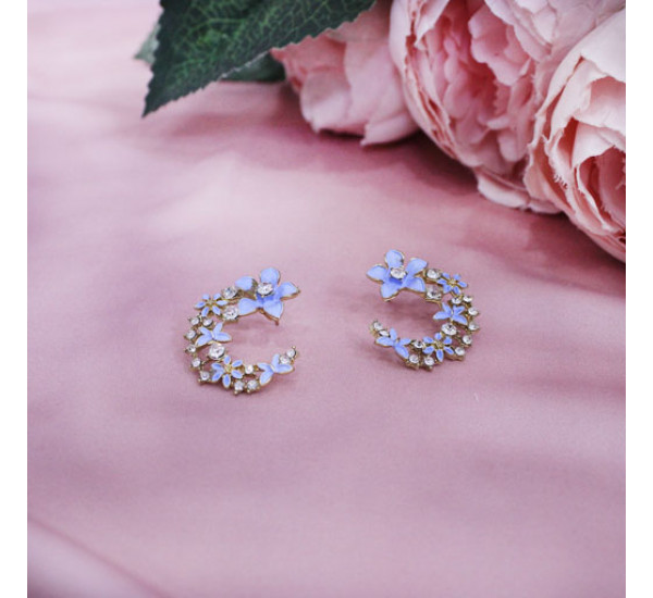 """Серьги от """"Lady Collection"""", цветение, цв.голубой"""