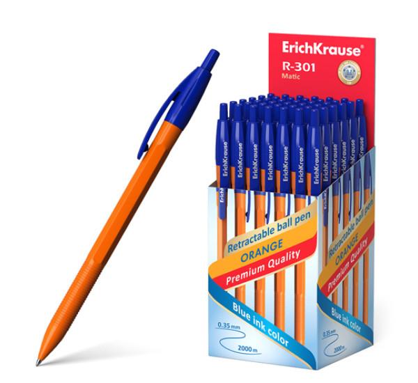 """Ручка шариковая автоматическая """"ErichKrause"""" R-301 Orange Matic (0.7, цвет чернил синий)"""