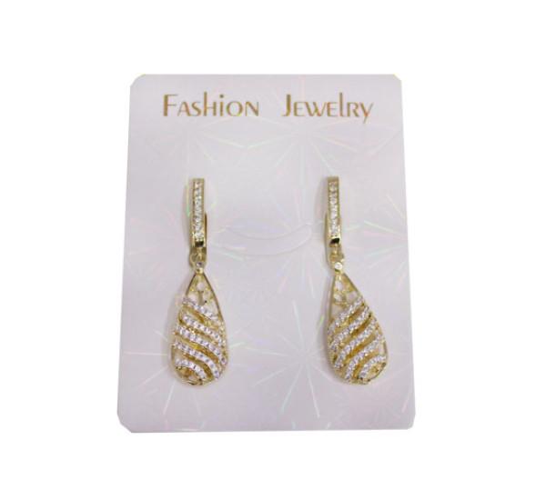 """Серьги со стразами от """"Fashion Jewelry"""", капля, волнистая, цвет белый в золоте"""