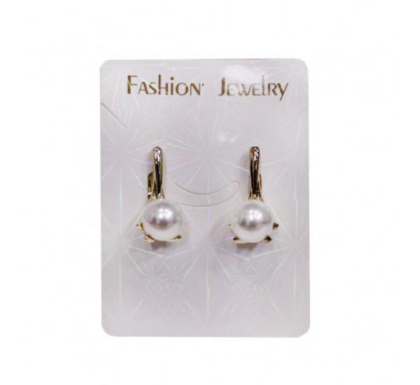 """Серьги от """"Fashion Jewelry"""", жемчужинка, цвет белый в золоте"""