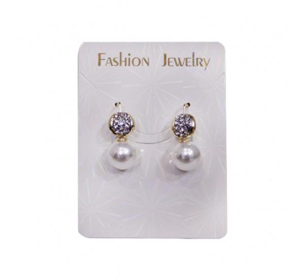"""Серьги со сразами от """"Fashion Jewelry"""", жемчужинка, цвет белый в золоте"""