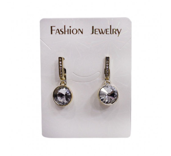 "Серьги со сразами от ""Fashion Jewelry"", круг, цирконий, цвет белый в золоте"