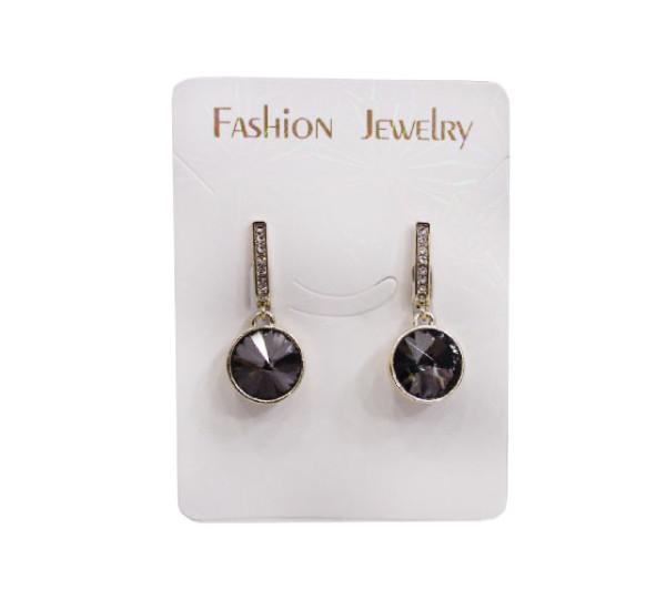 """Серьги со сразами от """"Fashion Jewelry"""", круг, цирконий, цвет чёрный в золоте"""